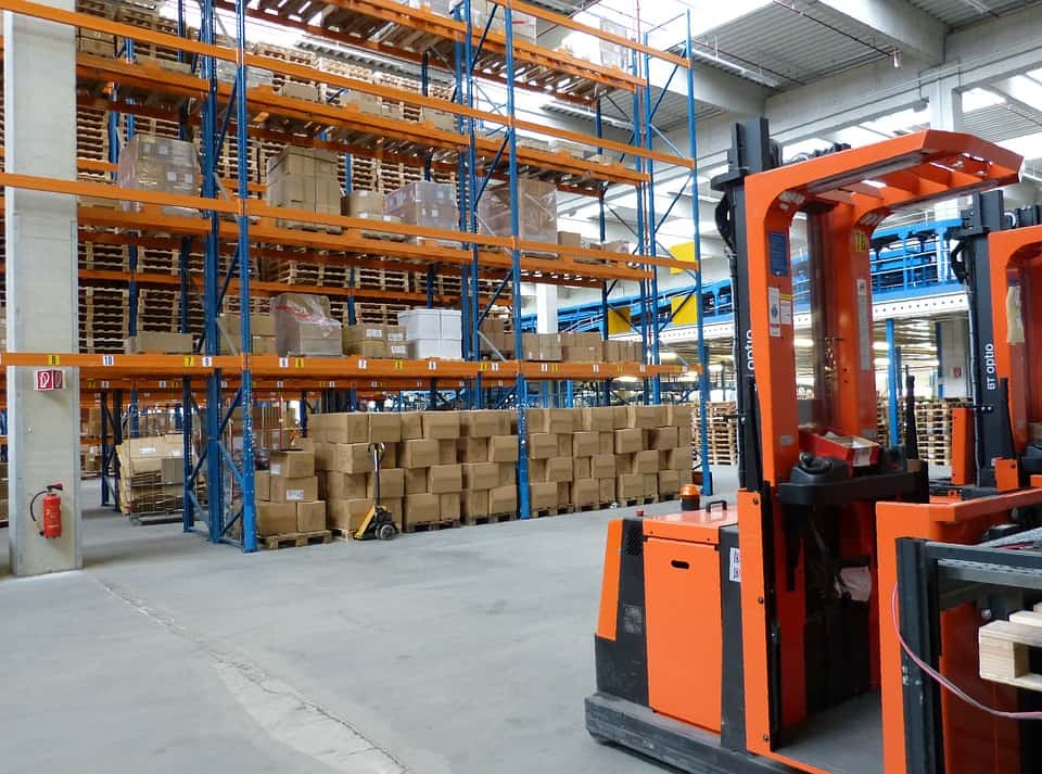 Inside storage warehouse