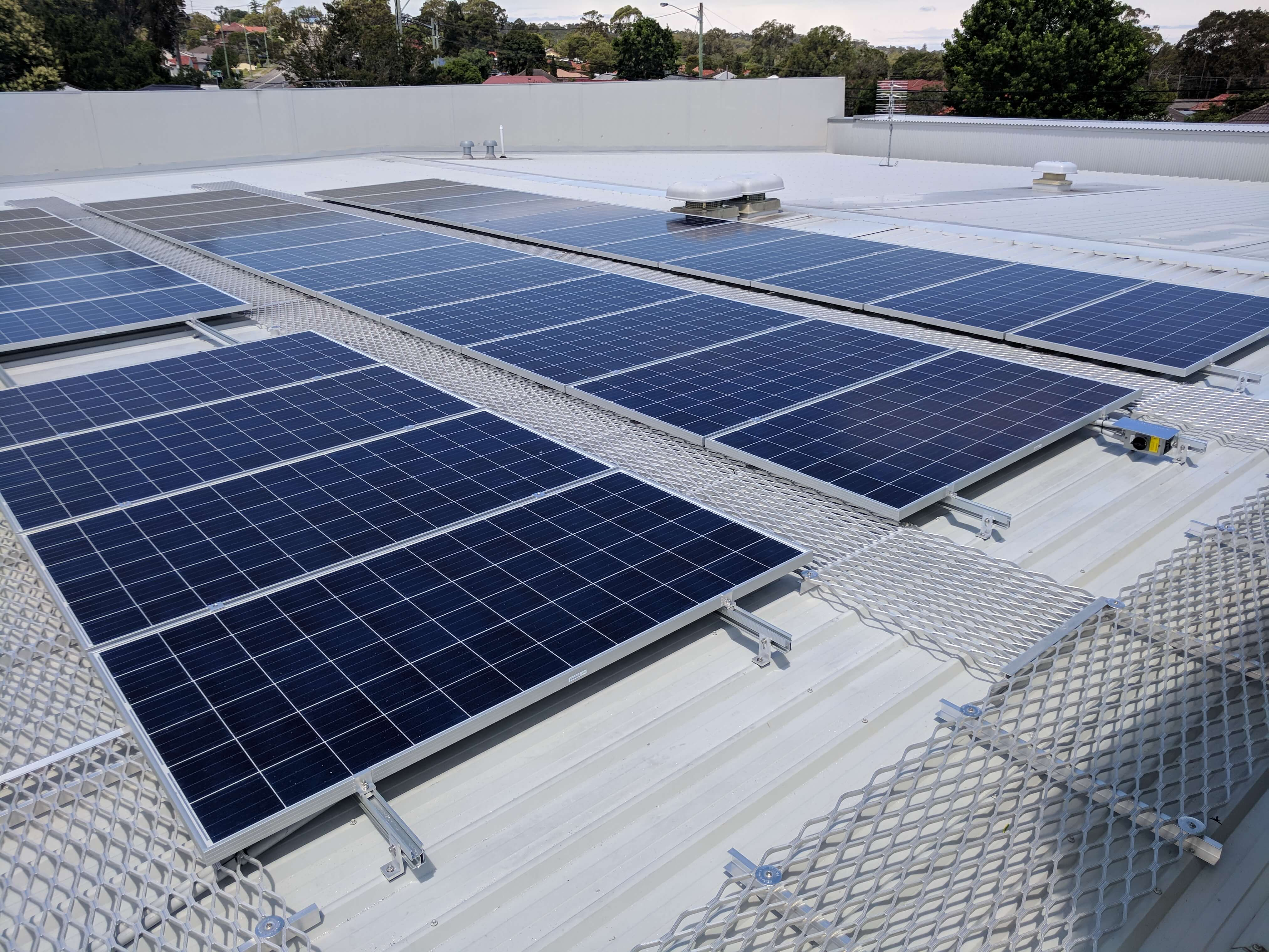 Solar panels in commercial installation